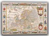 Visscher, Nicolas: Map of Europe. Antique/Vintage 17th Century Map. Fine Art Canvas. Sizes: A4/A3/A2/A1 (003898)